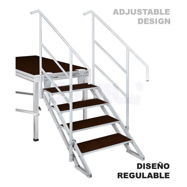 escaleras regulables en altura para tarimas de teatros